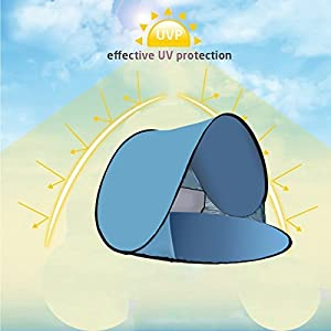 RIJER Portable Pop Up Tent, Instant Cabana UV Protection Sun Shelter Baby Tent Beach Shade Quick Installation Best for Camping/ Picnic/ Garden/Beach Times(2-3person)