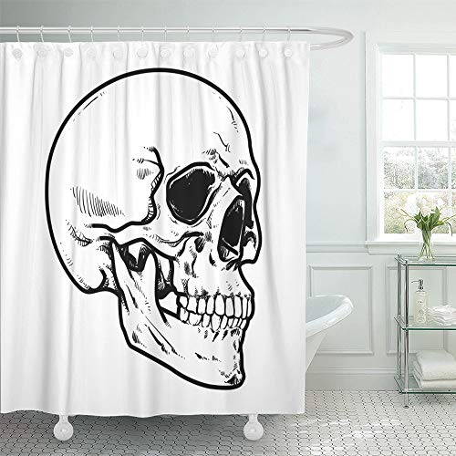 Emvency Shower Curtain Set Waterproof Adjustable Polyester Fabric Line Skull Collection of Hard Core Anatomic Anatomy 72 x 78 Inches Set with Hooks for Bathroom ()