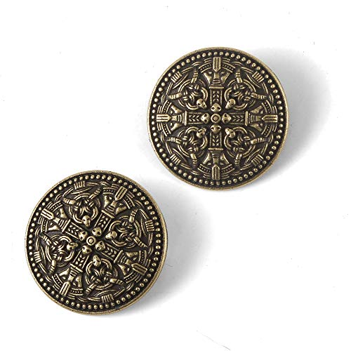 (Medieval Viking Shield Brooches Pin -Vintage Cloak Shawl Scarf Pin Norse Vintage Jewelry Brooch for Women Pagan Brooch Pagan Amulet Wiccan Accessories Handmade Viking Round Bronze Gold Brooch 2pcs/ Se)