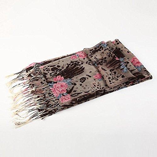 RENYZ.ZKHN Female Autumn Winter Scarf Small Floral Print Scarf Long Fringed Scarf Shawl Scarves Warm In Winter 65  184Cm