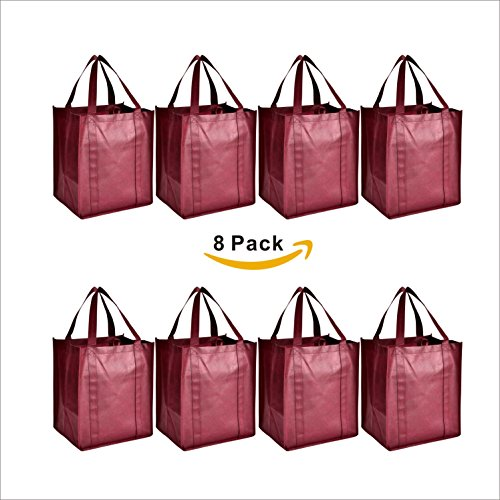 LIHI Bag Large & Heavy Duty Reusable Nonwoven Grocery Shopping Tote Bags With Hanging Loop & Removable Wrapped Bottom Insert and Reinforced Handle For Strength (8 Pack, (Reusable Recyclable Tote Bag)