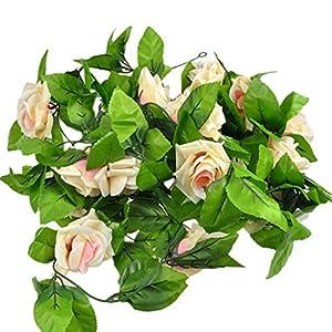 ESTD Artificial Fake Silk Rose Flower Vine Hanging Ivy Garland Home Decor (Champagne) 1