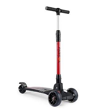 Fascol Plegable Tres Ruedas de Aluminio para Niños y Jóvenes Scooter Plegable de 7 a 15 Años 75 kg de Carga (Rojo)