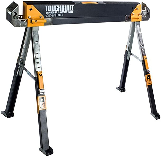 Best Sawhorses: oughbuilt Sawhorse Adjustable up to 4 x 4 Size Support Arms 1300 LB Capacity