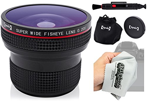 Opteka 0.20X Super AF Wide Angle Fisheye Lens with Microfiber Cloth for Sony Alpha E-Mount a7r, a7s, a7, a6000, a5100, a5000, a3000, NEX-7, NEX-6, NEX-5T, NEX-5N, 5R and 3N Digital Mirrorless Cameras