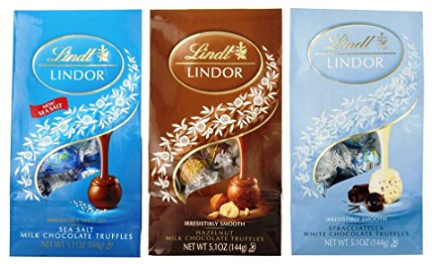 Lindt Lindor Chocolate Truffles 3 Flavor Variety Bundle, (1) each: Sea Salt Milk Chocolate, Hazelnut Milk Chocolate, Stracciatella White Chocolate (5.1 Ounces)