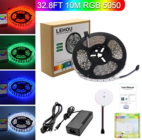 RGB LED Strip Lights Kit,Waterproof LED Light Strip White PCB 5050 DC 12V Flexible Neon Tape 32.8Ft (10M) 300leds with Bluetooth APP Controller for Christmas Kicthen Party Indoor and Outdoor