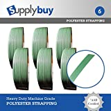 SupplyBuy Polyester Waxed AAR Strapping, 5/8'' Width, 0.035'' Thick, 4000' Length, Green. Designed by SupplyBuy to be used with most machine and hand applications. 1400 lbs of strength. Set of 6.