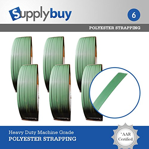 SupplyBuy Polyester Waxed AAR Strapping, 5/8'' Width, 0.035'' Thick, 4000' Length, Green. Designed by SupplyBuy to be used with most machine and hand applications. 1400 lbs of strength. Set of 6. by Supplybuy