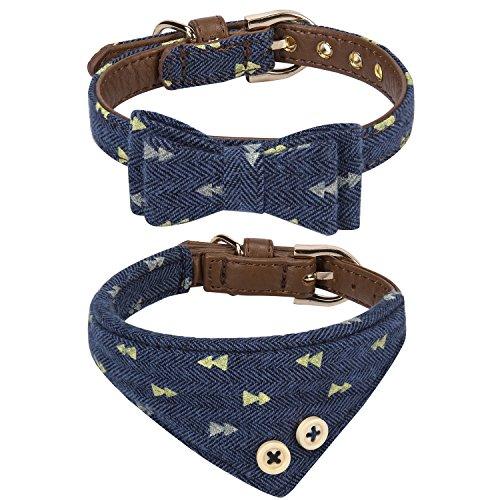 StrawberryEC Puppy Collars for Small Dogs Adjustable Puppy Id Buckle Collar Leather. Cute Plaid Bandana Dog Collar (Bow+Bandana-Navy)
