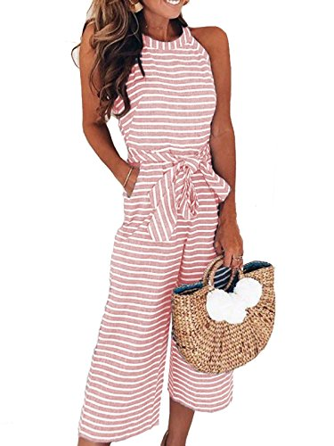 PORALA Womens Striped Sleeveless Wide Leg Jumpsuit Waist Belted Capri Pants Romper with (Striped Womens Capris)