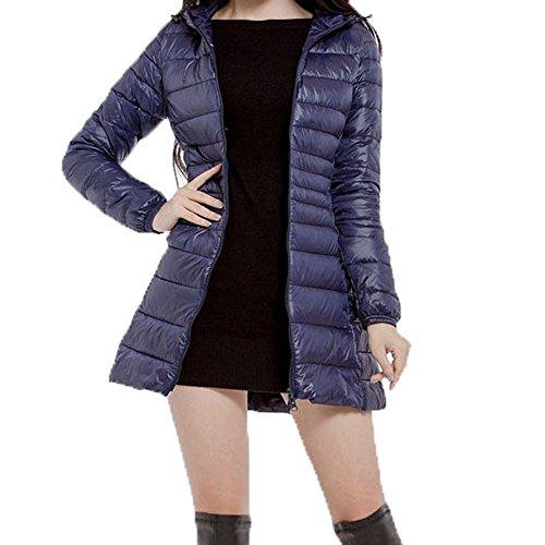 Femmes Plus Fourrure de Manche Outwear Taille la Femme Chaude Manteau Doudoune Mince Doudoune d'hiver ALIKEEY Capuche Marine des Manteau sans Manteau Mode Femme Zq0WnO1