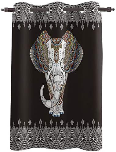 Crystal Emotion 63inch Length Blackout Window Curtains Drapes Bohemian Elephant Window Treatment