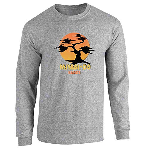 Karate Kid Miyagi-Do Dojo Bonsai Sunset Costume Sport Grey L Long Sleeve T-Shirt]()