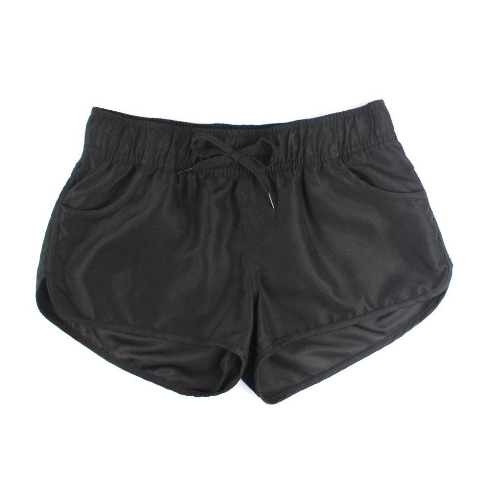 Estamico Women's Athletic Casual Beach Shorts Boardshorts Summer Floral Quick Dry Swim Trunks, Black L