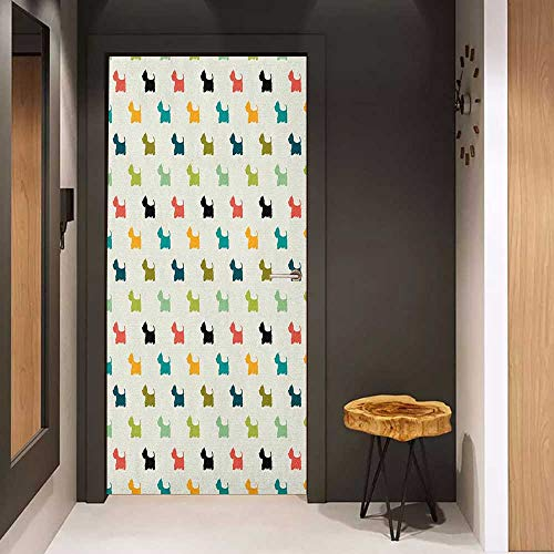 Onefzc Automatic Door Sticker Dog Lover Colorful Scottish Terrier Silhouettes Polka Dot Backdrop Purebred Animal Pattern Easy-to-Clean, Durable W23.6 x H78.7 Multicolor