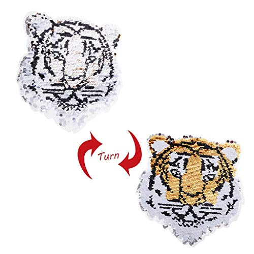 Double Side Embroidered Tiger Sew On Sequins Patch Fabric Applique Crafts