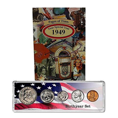 1949 Year Coin Set & Greeting Card : 70th Birthday Gift - Birthyear Set