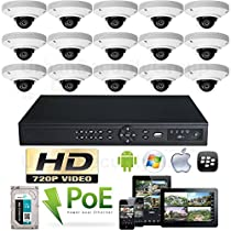 USG High Definition IP CCTV Kit: 1x 16 Channel NVR + 15x 3.6mm PoE IP Dome Cameras + 1x 2TB HDD *** Easy Setup *** View Remotely On Your Phone, Tablet & Computer *** High Definition CCTV Video Surveillance