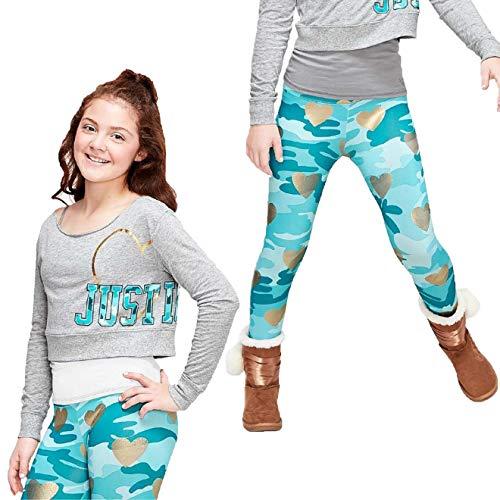 (Justice Girl's 2-Piece Bundle, Logo Crop Sweatshirt & Foil Camo Leggings Set (Grey/Teal,)