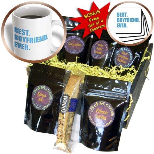 InspirationzStore Typography - Blue Best Boyfriend Ever text anniversary valentines day gift for him - Coffee Gift Baskets - Coffee Gift Basket (cgb_179710_1)