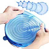 Insta Lids – Silicone Stretch Lids – Instalids - Stretch and Fit Lids – imusicat Silicone Lids - 6-Pack of Various Sizes - Reusable, Durable, Heat Resistant - FDA Approved, BPA Free