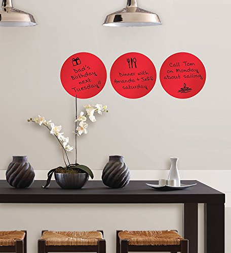 ZOMUSA Wall Pops Peel & Stick Calypso Dry-Erase Dots with Marker, 3-Count 13x13 inch (Red) ()