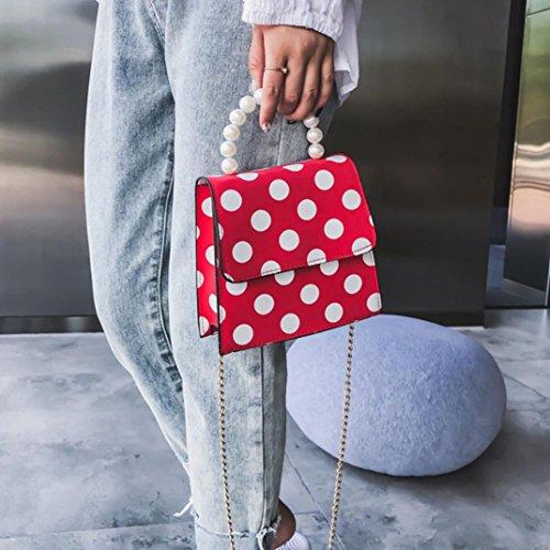 Women Fashion Dot Printed Shoulder Pearl Bag Handbag Red Bag Tefamore New 2018 Crossbody Cover dwpqxAA5z