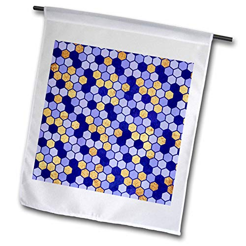 3dRose Anne Marie Baugh - Patterns - Royal Blue and Faux Digitally Printed Gold Foil Octagon Pattern - 12 x 18 inch Garden Flag ()