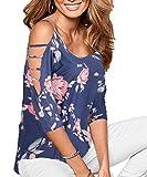 DREAGAL Women's Loose Hollowed Out Shoulder Floral Print Blouse Tops