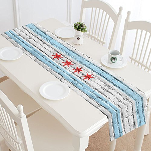 InterestPrint Flag Of Chicago State Illinois On Brick Wall Table Runner Linen & Cotton Cloth Placemat Home Decor for Wedding Banquet Decoration 16 x 72 ()