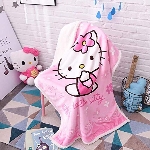 "EIIORPO Cartoon Hello Kitty Sherpa Throw Blanket Super Soft Cozy Plush Fleece Blanket for Bed Couch Chair Baby Crib Living Room(40""X 55"", Hello Kitty)"