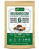 ECO-TASTE 6 Blend Mushroom Extract Powder 100g Beta-D-Glucan 30%,USDA Organic, Lions Mane, Reishi, Cordyceps, Chaga, Turkey Tail, Maitake,Real Fruiting Body Supplement