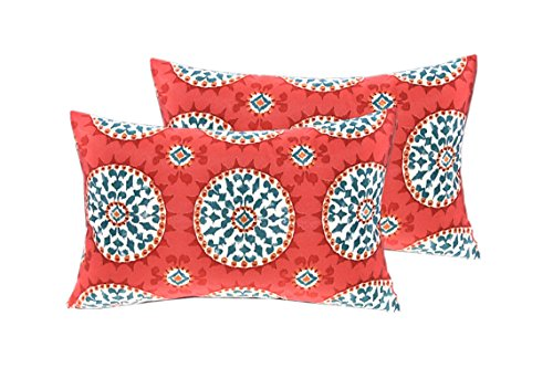 """RSH DECOR Indoor Outdoor Set of 4 (2-17""""x17"""" Square and 20""""x12"""") Lumbar Toss Throw Pillows Weather Resistant - Red, Coral, Turquoise - Watermelon Sundial - Perfect for use both Indoors and Out! Give your Porch or Home an easy, quick, fresh makeover with our Decorative Pillows & Cushions! UV resistant, fade resistant, stain resistant fabric - Functional and easy way to update your Patio, Deck, Porch or Home Decor. - patio, outdoor-throw-pillows, outdoor-decor - 51t6PKlkT1L -"""
