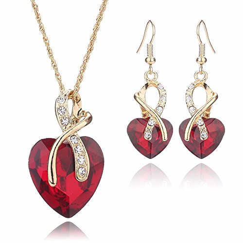 Women Fashion Heart Shape Gold Plated Jewelry Set Necklace Earring of Gemstone Crystal for Costume Show Wedding Party Dance Ceremony Accessories