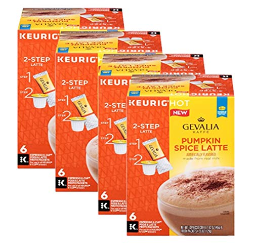 GEVALIA Pumpkin Spice Latte, Espresso K-CUP Pods and Latte Froth Packets, 6 Count (Pack of 4)
