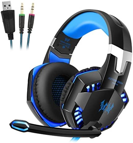 [해외]Stereo Gaming Headset for PC PS4 Laptop Computer Cellphone Over Ear Stereo Bass Gaming HeadphoneMic On-Cable Controls Noise Cancelling Sports-Performance Ear Pads Light Weight (Blue) / Stereo Gaming Headset for PC PS4 Laptop Comput...