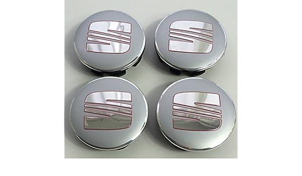 4 x Seat aleación Badges Center Nabe tapas 63 mm plata Chrome Rojo Ibiza Leon Mii: Amazon.es: Coche y moto