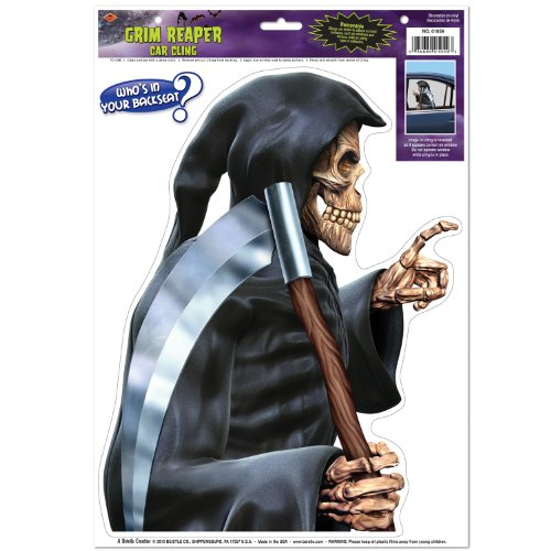 Grim Reaper Backseat Driver Car Cling Party Accessory