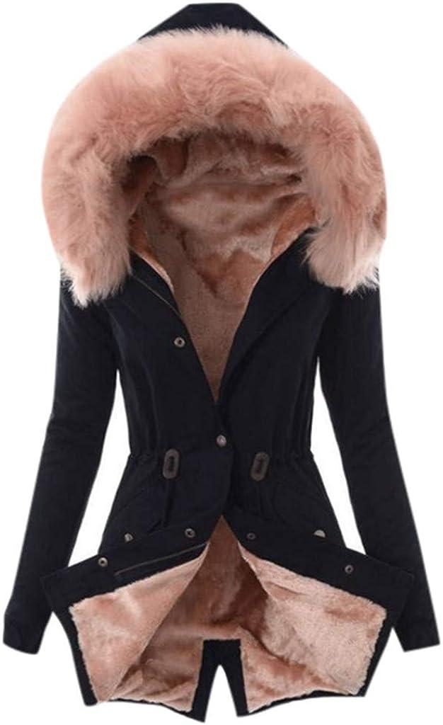 Giacca Ispessita con Cappuccio Solido WUDUBE Cappotto da Donna Capispalla Caldo Invernale con Bottoni Manica Lunga Casual
