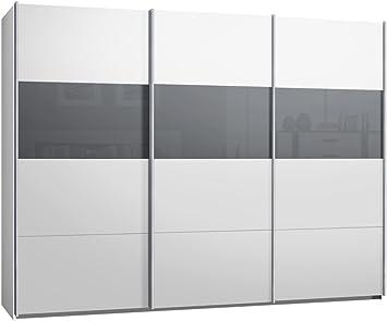 Armario ropero de puertas correderas, aprox. 300 cm, color blanco con cristal gris, armario con puertas correderas.: Amazon.es: Hogar