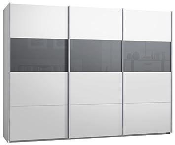 Küche küche glasfront grau : Schwebetürenschrank, Kleiderschrank, ca. 300 cm, Weiss mit Glas ...