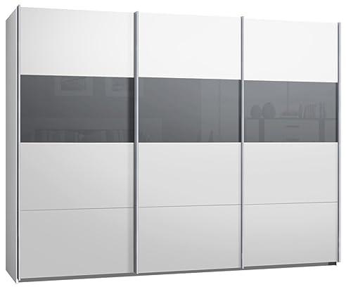 Schwebetürenschrank weiß grau  Schwebetürenschrank, Kleiderschrank, ca. 300 cm, Weiss mit Glas ...
