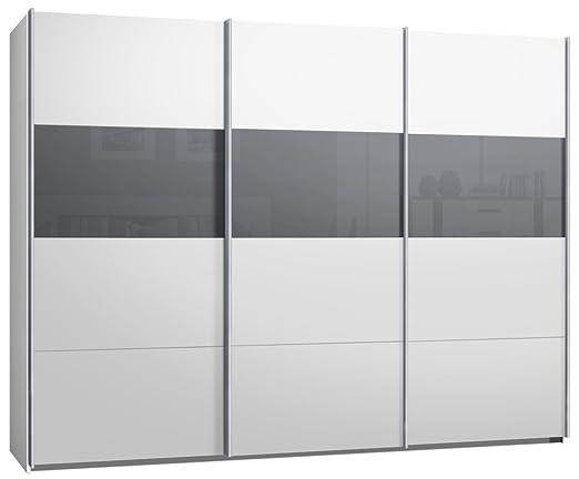Schwebetürenschrank, Kleiderschrank, ca. 300 cm, Weiss mit Glas Grau ...