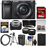 Sony Alpha A6300 4K Wi-Fi Digital Camera & 16-50mm Lens (Black) 64GB Card + Case + Battery & Charger + Tripod + 3 Filters + Kit