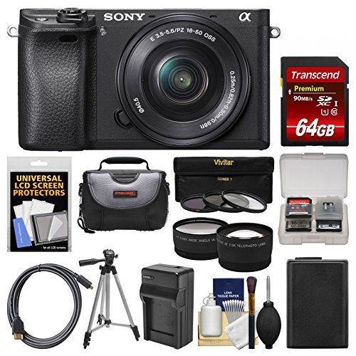 Sony Alpha A6300 4K Wi-Fi Digital Camera & 16-50mm Lens (Black) with 64GB Card + Case + Battery & Charger + Tripod + 3 Filters + Kit
