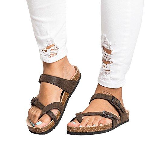 Ermonn Womens Thong Flat Sandals Gladiator Buckle Strappy Cork Sole Summer Slides by Ermonn