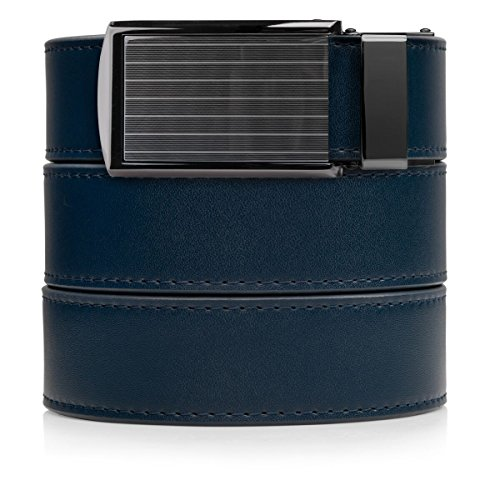 Pinstripe Buckle (SlideBelts Men's Leather Belt without Holes - Pinstripe Buckle / Navy Leather (Trim-to-fit: Up to 48