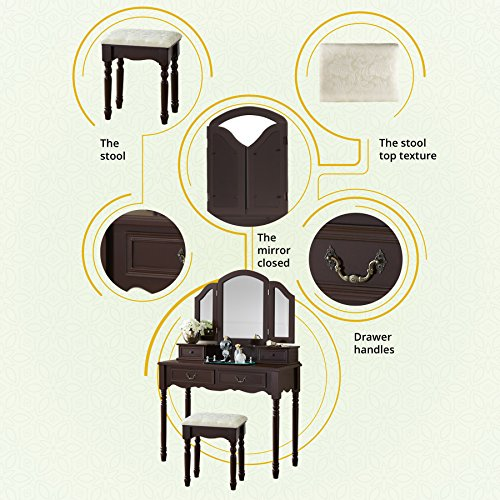 Fineboard FB-VT06-BNV Elegant Vanity Set Makeup Dressing Table 3 Mirrors Stool, 4 Drawers, Brown