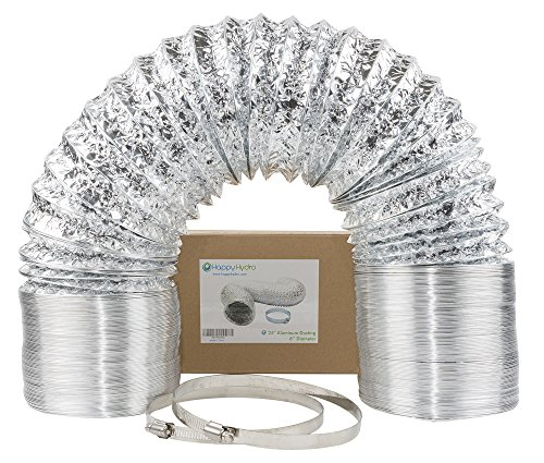 "Flexible Venting Hose - 6"" x 25' HVAC Flex Duct Non-Insulated Venting Hose with 2 Worm Gear Clamps for Grow Room and Greenhouse"